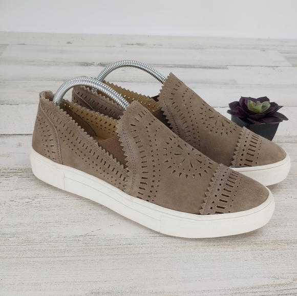 Seychelles Taupe Leather Perforated Sneakers